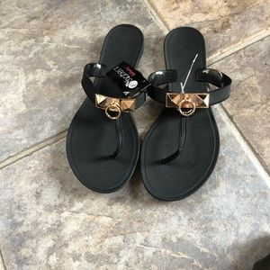 Chatties black sandals with gold accent